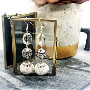 Silver glass and metal sparkle dangle earrings